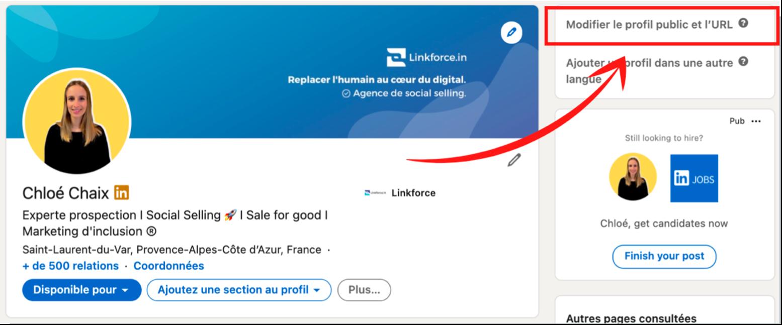 Modifier url profil LinkedIn
